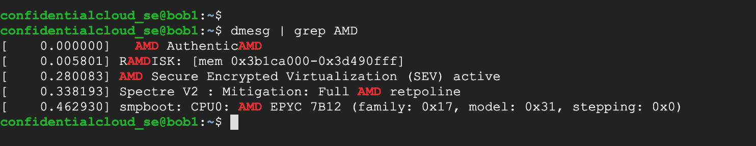 Screenshot showing the diagnostic message output in a confidential VM